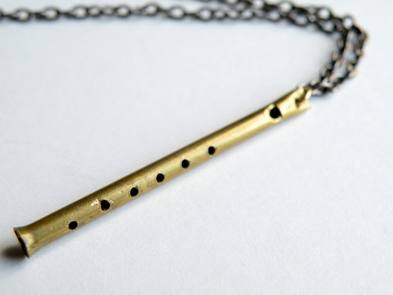 Pied Piper flute Necklace, handmade in brass