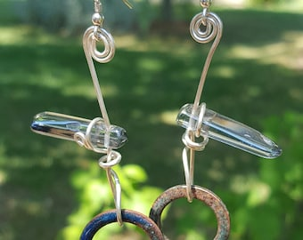 Sterling silver earring with crystal bead and glass enamel washer