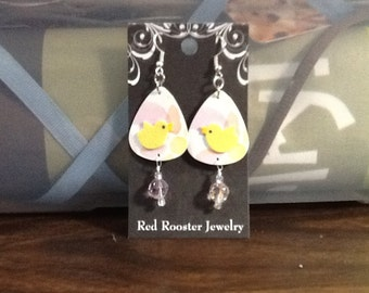 ON SALE Spring Easter spring Chick peeps bitty chicken earrings guitar pick recycled plastic gift cards unique ooak