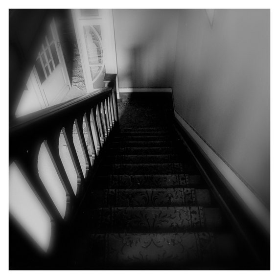 Staircase, Surreal Fine Art Print, Fine Art Photography, Black and White, Urban Decay, Abandoned, 5x5, 8x8, Home Decor, Wall Art