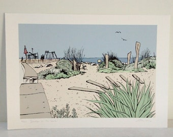 Worthing beach print - 'Garden on the beach' archival limited edition print