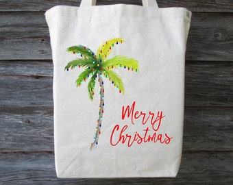 Christmas Palm Tree Tote, Christmas Tote, Florida Christmas Tote, Palm Tree Tote, Hawaii Christmas Tote, Christmas Lights on a Palm Tree