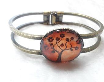 Bronze tree of life orange Bangle Bracelet