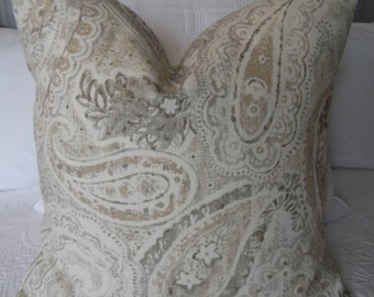 PAISLEY.Pillow Cover.Slip Cover.Home Decor.Country Living.Traditional.Slip Covers.Pillow Covers.Grays.Browns.Taupe.Tans.Creams