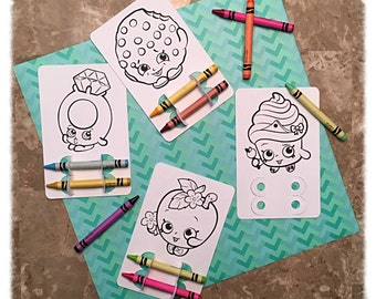 Shopkins Coloring Party Favor, Kids Shopkins Party, Coloring, Crayons, Custom, Personalized, Birthday Party, Classroom Project