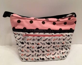 "LIP25- Lunch Bag: ""Just A Wee Slip-per"""" washable insulated lunch bag with zippered front pocket and zippered top closure."