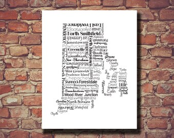 Rhode Island Print, Rhode Island Map, RI, State Art, Rhode Island Art, Typography, Personalized, Print, Custom, Cities, Housewarming Gift