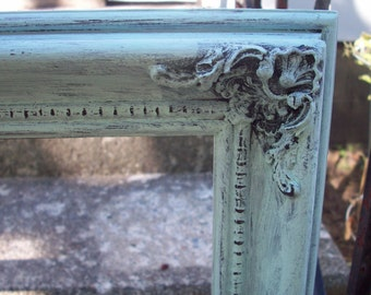Large Wooden Open Gallery frame hand painted mint green, Rustic wedding photo prop, Shabby cottage chic wall decor, Ornate picture frame