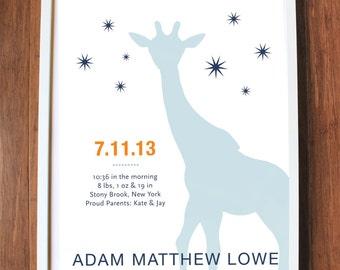 Giraffe Print, modern wall art, custom baby print, nursery decor, birth date print, name print, CUSTOM LARGE