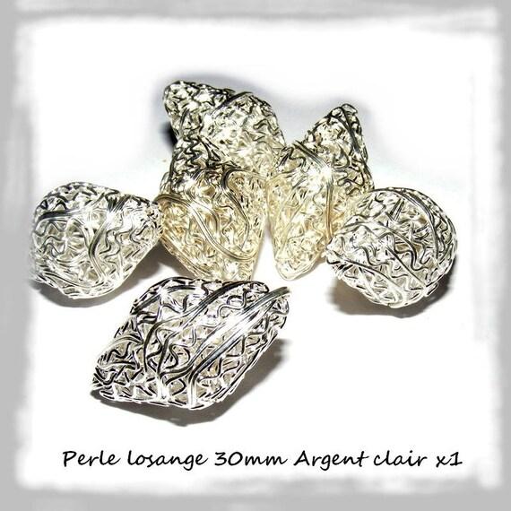 Perle Losange 30mm silver bicone clear x 1