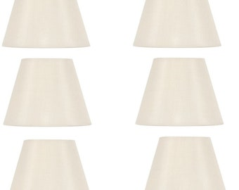 Upgrade Lights Set of Six - 5 Inch White English Barrel Silk Chandelier Shades