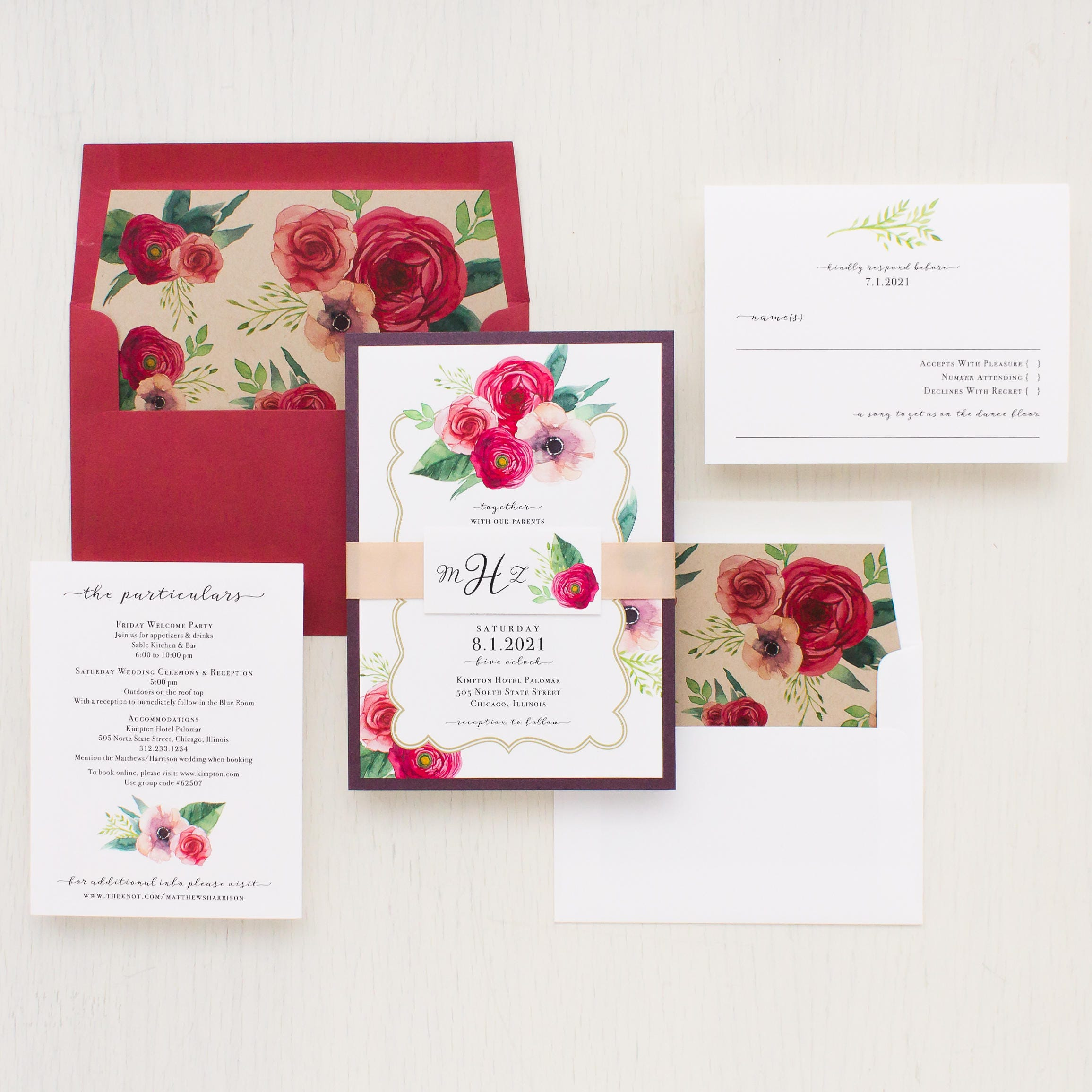 Floral Classic Wedding Invitations Garden Roses Taupe Red