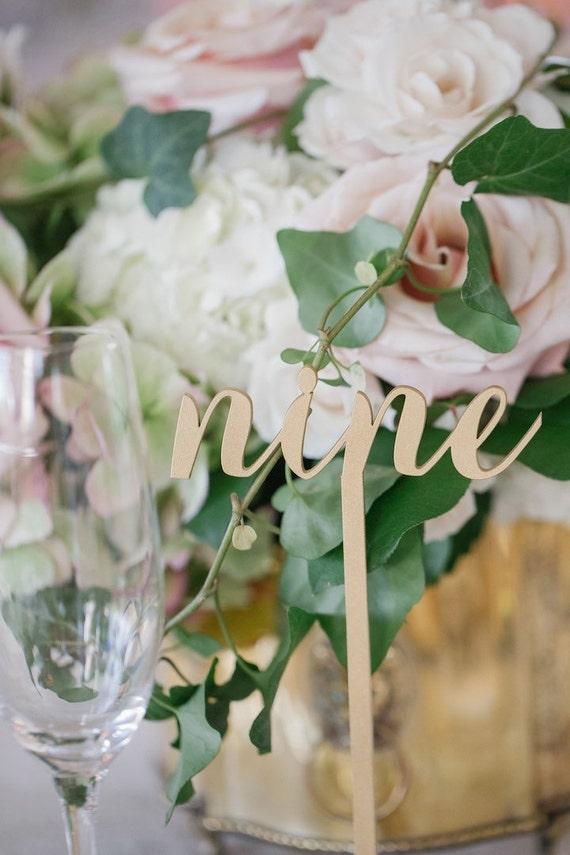 Wooden Table Numbers, Wedding Table Numbers, DIY Table Numbers, Gold Table Numbers, Laser Cut Wedding Decor, Rustic Wedding Table Numbers