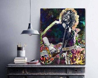 Soundgarden, Chris Cornell, Chris Cornell Original Art, Guitar Canvas, Grunge Rock Art, Grunge Canvas, Grunge Decor, Audioslave, Rock Guitar