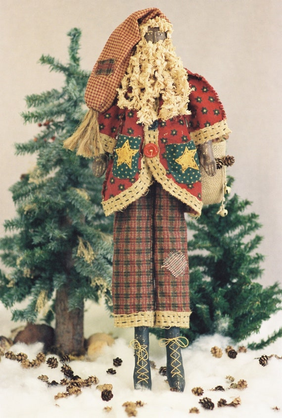 Pere Noel - Cloth Doll E-Pattern  24in Black Primitive Folk Art Santa E-pattern