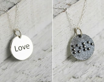 Braille Gifts, Braille Necklace for Girlfriend, Love Jewelry for Bridesmaids, Love Gifts for Her, Braille Jewelry for Girlfriend
