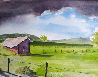 Watercolor art painting of Willamette Valley landscape, Oregon, print from a handmade original