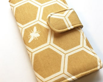 Organic Canvas Wallet, Womens Clutch, Honeycomb and Bees