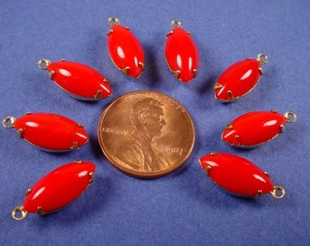 6 Vintage Cherry Red Navette Glass Stone smooth dome  Drops 15x7 charms