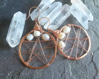 Copper & Freshwater Pearl Hoop Earrings - Rustic Handformed and Wire Wrapped Dangle Hoop Earrings by Adrienne Adelle