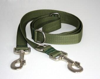 Adjustable olive green dog leash for dogs