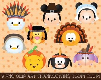 thanksgiving tsum tsum clipart, tsum tsum graphics, thanksgiving clipart, cute thanksgiving, party, instant download