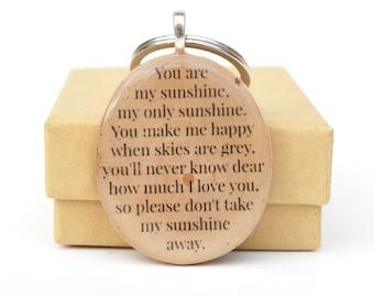 You Are My Sunshine Keychain, Personalized Keychain