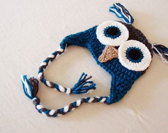 RTS Baby Owl Laplander Hat - 0 to 3 Months - Teal Green, Charcoal Grey - Animal