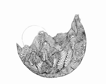 """Hand Drawn Coloring Page Titled """"Anthill Sunrise"""""""