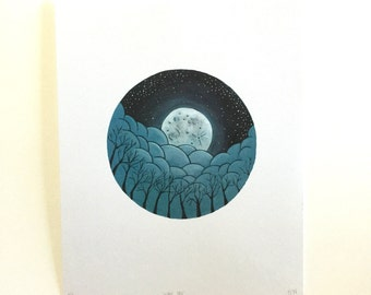 Full Moon Night Sky Print