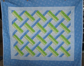 Quilt Blue and Green Woven Design Baby Quilt for Baby Boy or Baby Girl