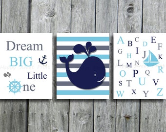 Printable wale wall decor,Nautical downloadable,3 instant download prints,navy-blue-gray bedding,alphabet-dream big little oneprintable