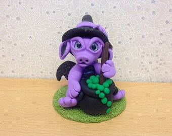 Witch Dragon, Polymer Clay Dragon, Dragon Sculpture, Dragon Collectible, Dragon Gift - Elvira