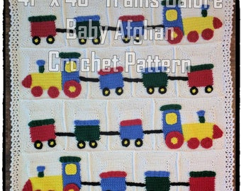 Trains Galore Baby Afghan Crochet Pattern PDF-INSTANT DOWNLOAD
