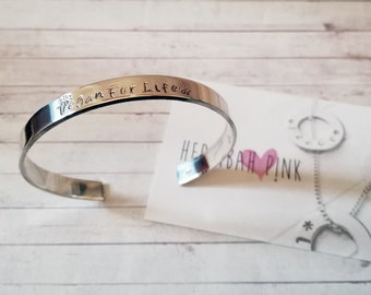 Hand Stamped *!!*Vegan For Life*!!* 6mm x 150mm 925 Sterling Silver Bangle - EASILY PERSONALISED! Gifts