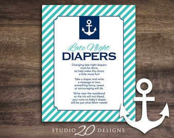 Instant Download Turquoise Nautical Late Night Diapers, 8x10 Blue Anchor Diaper Thoughts, Sailor Baby Shower Decorate Diaper Activity 26E