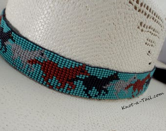 Beaded hatband, Ponies, Ponies Lots!, beaded, hat band, Amazing colors, beaded Western horsehair hat band, Cowboy hat band, Rodeo hat band,