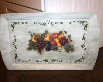 Tole Painted Wooden Tray//Shabby Chic Decor//Large Wood Tray//Vintage Tray