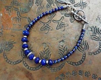 Sterling and Blue Lapis Gemstones Silver Bracelet