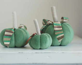 Set of 3 Mint green velvet pumpkins