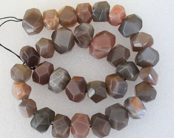 Natural Grey Moonstone Faceted Freeform Nugget Beads 16 Inch Strand