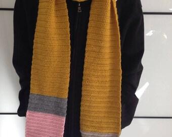 Scarf giant pencil crochet yellow mustard - gift - humor - design