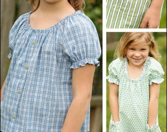 Peasant Top & Tunic Childs PDF sewing epattern - use your cotton fabric or recycle a button-up shirt into a childs top or dress