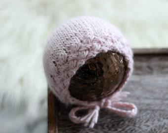 Pink Cable Knit Baby Bonnet / Newborn Photo Prop / Knit Baby Hats / Newborn Props / Unique Baby Gift / Newborn Hat / Photography Prop