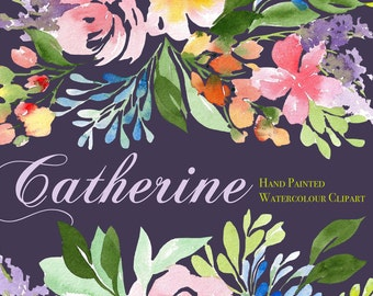 """Catherine - Watercolor Floral Clip Art Pattern - Digital Paper - 10 x 7"""" - Hand painted watercolour flowers"""