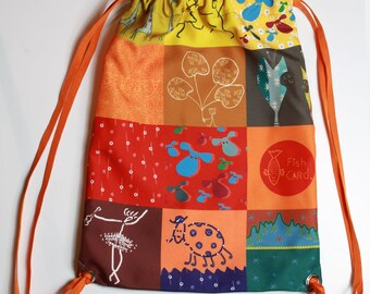 Fishcard drawsting backpack in patchwork style. Yellow collage. Modern light summer backpack for travel and kids