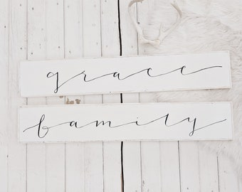 skinny grace OR family black and white wood sign