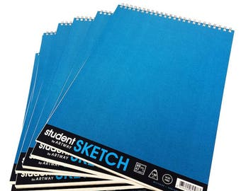 Artway A3 Student SKETCH Pad - Wire Bound Sketchbook - 130gsm - Pack of 5