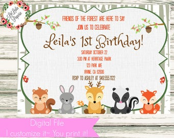 Woodland Forest Animals Birthday Invitation ~Digital File