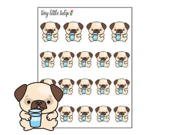 Planner Stickers Pug Hydrate